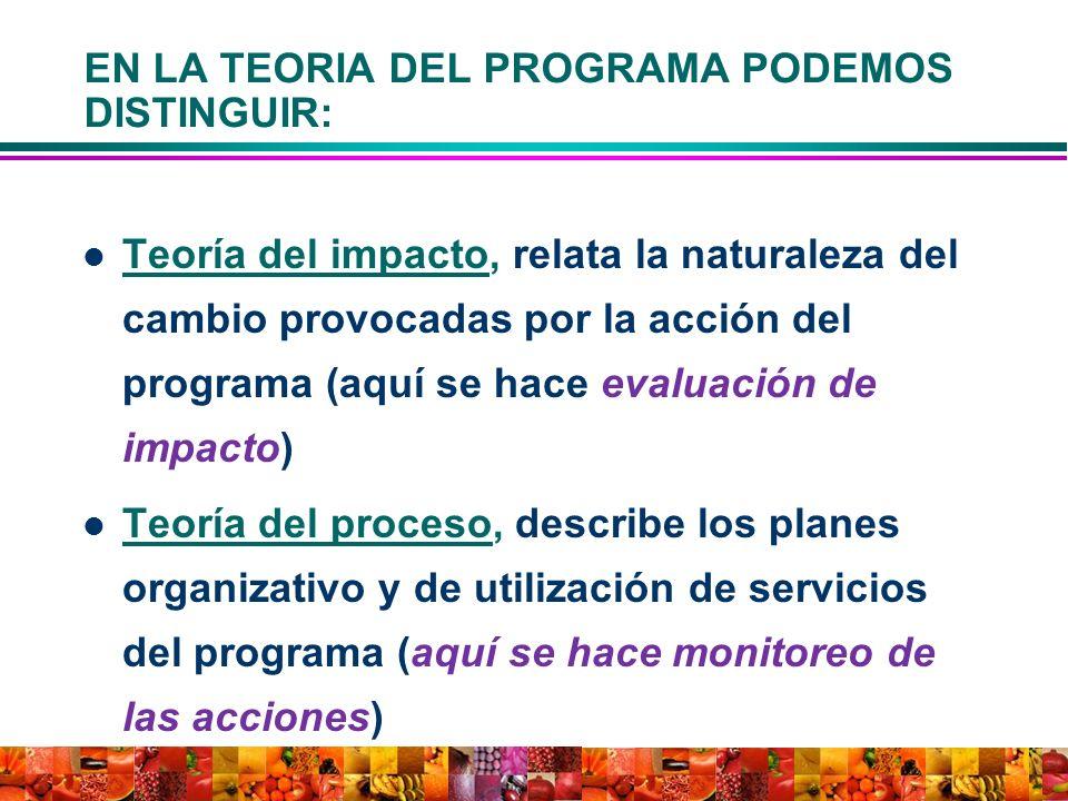 EN LA TEORIA DEL PROGRAMA PODEMOS DISTINGUIR: Teoría del impacto, relata la naturaleza del cambio provocadas por la acción del programa (aquí se hace