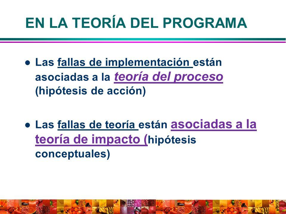 EN LA TEORÍA DEL PROGRAMA Las fallas de implementación están asociadas a la teoría del proceso (hipótesis de acción) Las fallas de teoría están asocia
