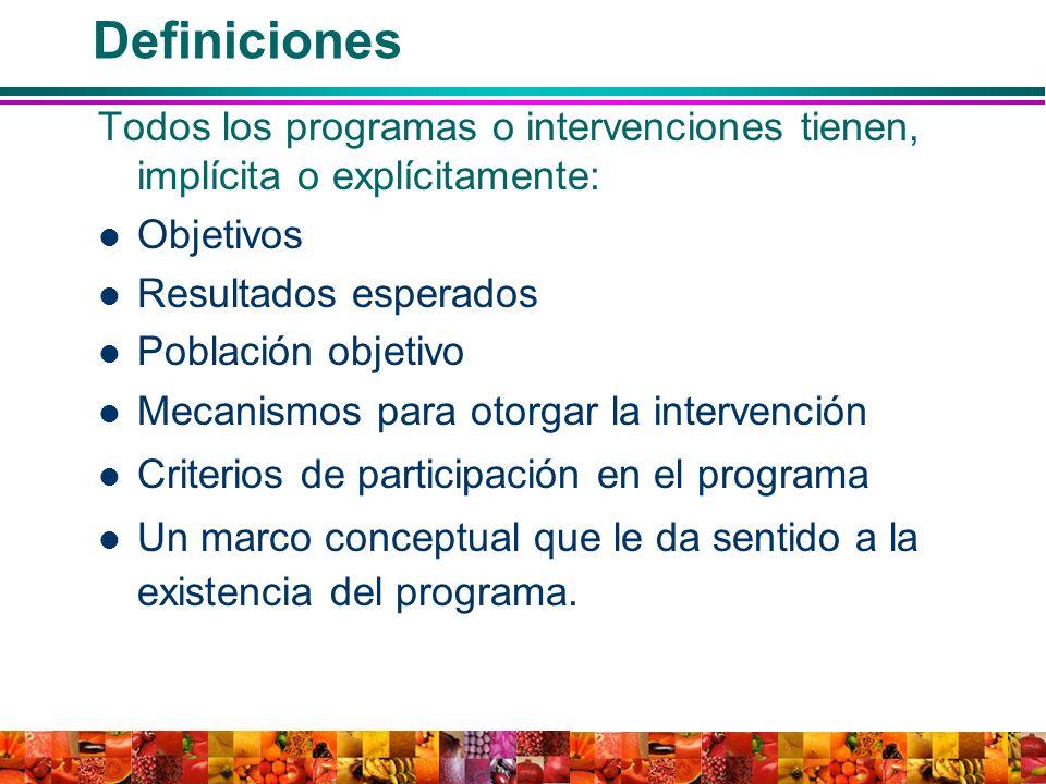 Definiciones Todos los programas o intervenciones tienen, implícita o explícitamente: Objetivos Resultados esperados Población objetivo Mecanismos par