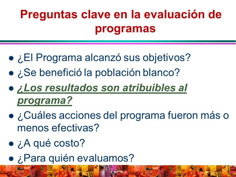 Preguntas clave en la evaluación de programas ¿El Programa alcanzó sus objetivos? ¿Se benefició la población blanco? ¿Los resultados son atribuibles a