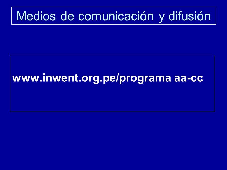 Medios de comunicación y difusión www.inwent.org.pe/programa aa-cc