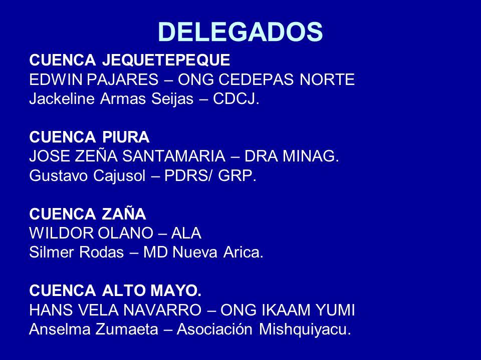 DELEGADOS CUENCA JEQUETEPEQUE EDWIN PAJARES – ONG CEDEPAS NORTE Jackeline Armas Seijas – CDCJ.
