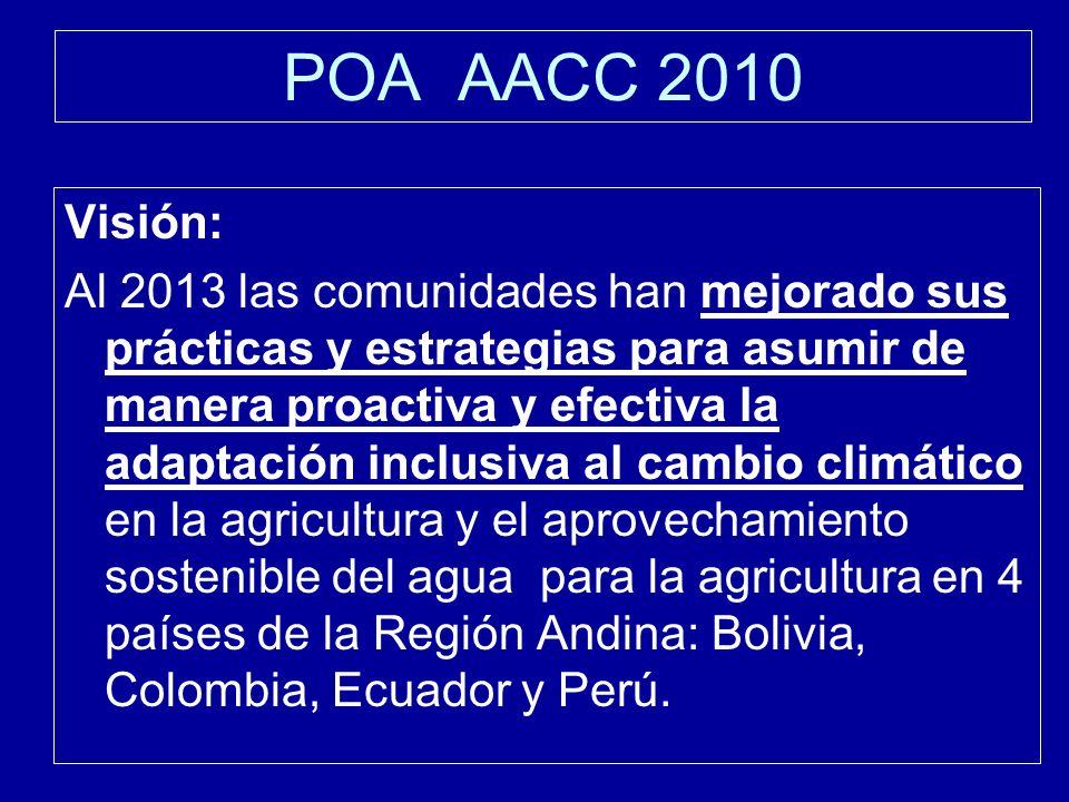 POA AACC 2010 Visión: Al 2013 las comunidades han mejorado sus prácticas y estrategias para asumir de manera proactiva y efectiva la adaptación inclusiva al cambio climático en la agricultura y el aprovechamiento sostenible del agua para la agricultura en 4 países de la Región Andina: Bolivia, Colombia, Ecuador y Perú.
