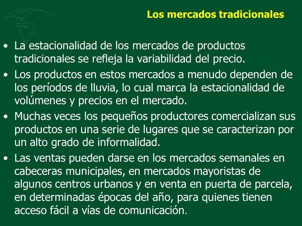 Los mercados tradicionales La estacionalidad de los mercados de productos tradicionales se refleja la variabilidad del precio. Los productos en estos