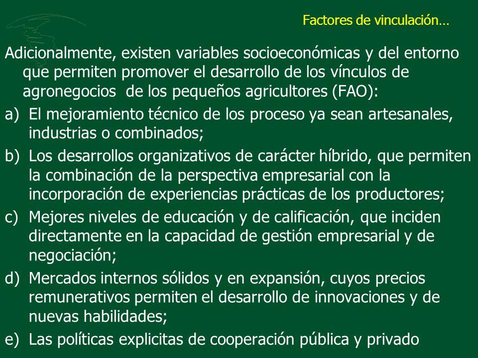 Factores de vinculación… Adicionalmente, existen variables socioeconómicas y del entorno que permiten promover el desarrollo de los vínculos de agrone