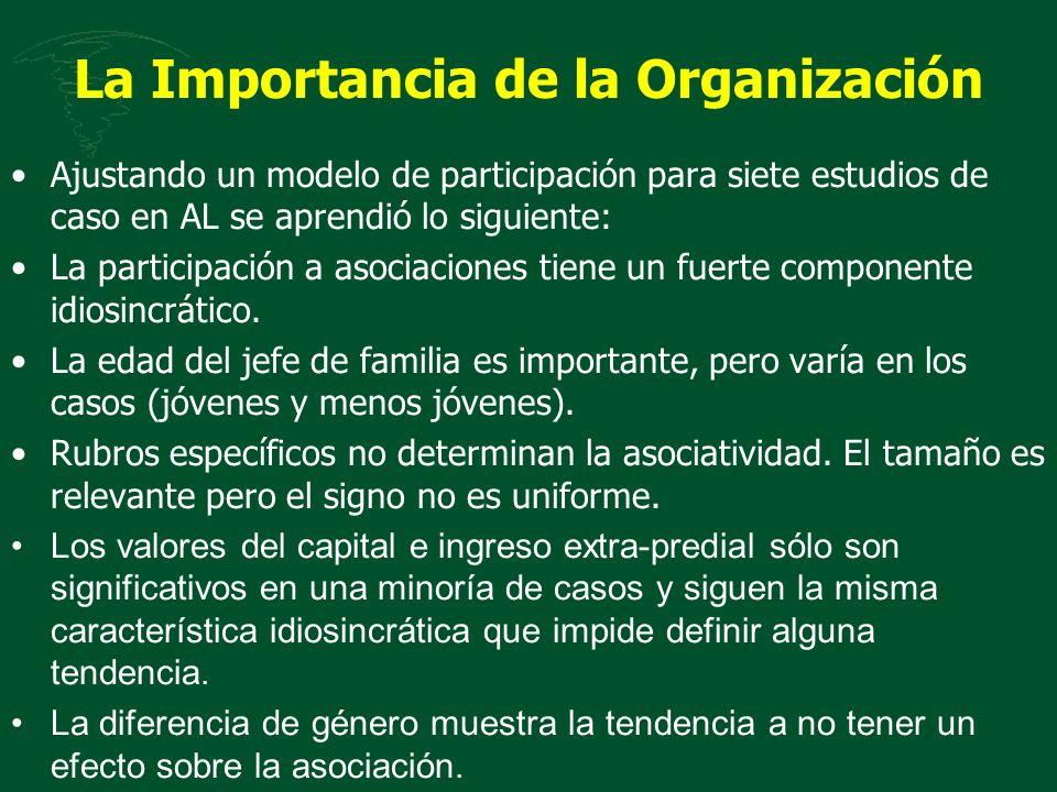 La Importancia de la Organización Ajustando un modelo de participación para siete estudios de caso en AL se aprendió lo siguiente: La participación a