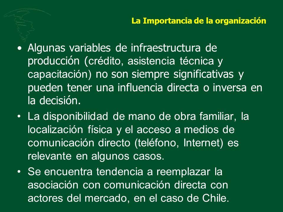La Importancia de la organización Algunas variables de infraestructura de producción ( crédito, asistencia técnica y capacitación) no son siempre sign