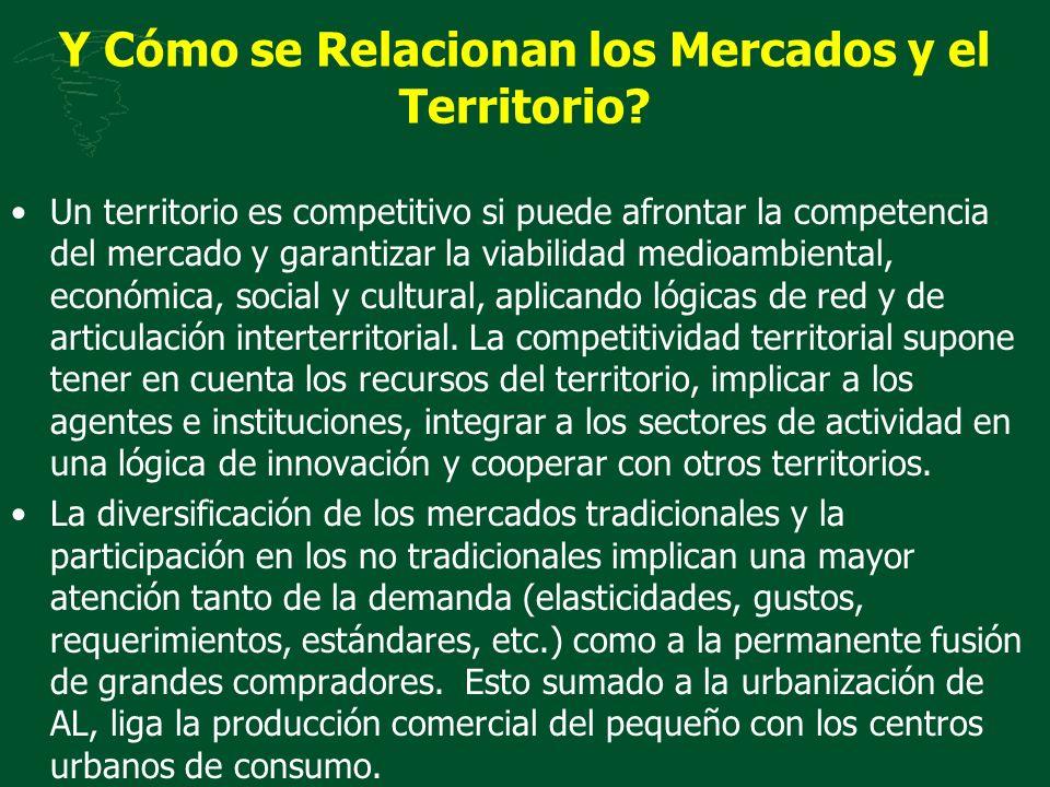 Y Cómo se Relacionan los Mercados y el Territorio? Un territorio es competitivo si puede afrontar la competencia del mercado y garantizar la viabilida