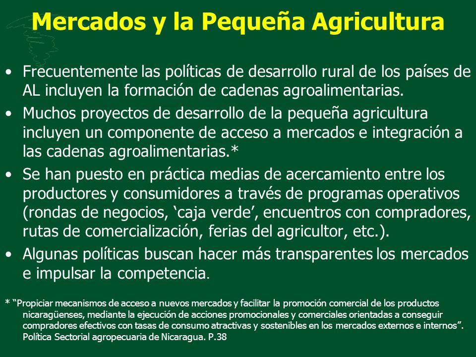 Mercados y la Pequeña Agricultura Frecuentemente las políticas de desarrollo rural de los países de AL incluyen la formación de cadenas agroalimentari