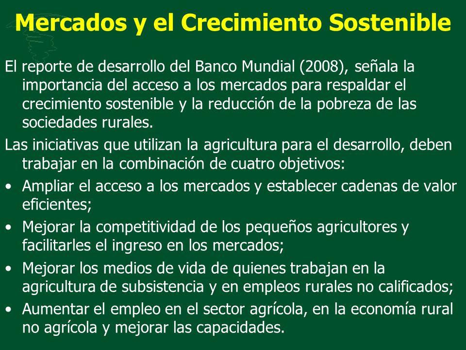 Mercados y el Crecimiento Sostenible El reporte de desarrollo del Banco Mundial (2008), señala la importancia del acceso a los mercados para respaldar