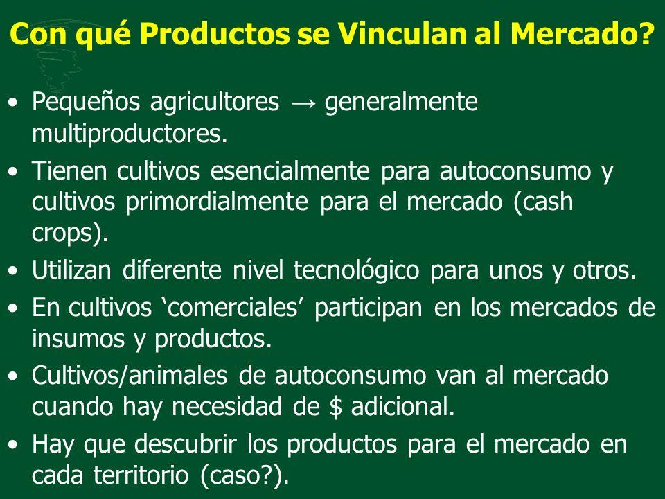 Con qué Productos se Vinculan al Mercado? Pequeños agricultores generalmente multiproductores. Tienen cultivos esencialmente para autoconsumo y cultiv