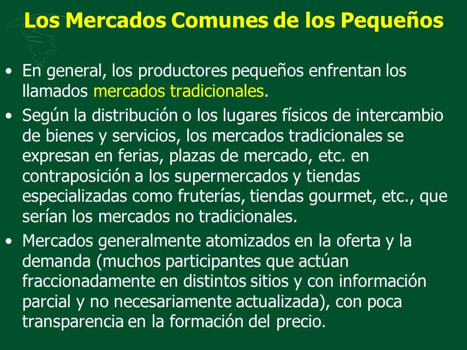 Mercados y territorios En algunos productos el comercio alcanza niveles nacional e internacional, que también requiere de estrategias y acciones de inteligencia de mercado que acerca al pequeño productor con los centros de consumo.