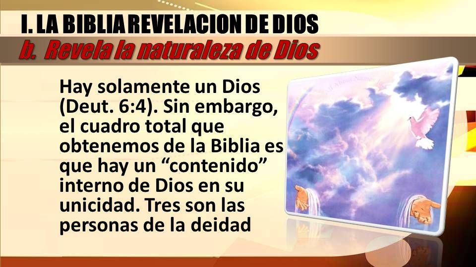 Hay solamente un Dios (Deut. 6:4). Sin embargo, el cuadro total que obtenemos de la Biblia es que hay un contenido interno de Dios en su unicidad. Tre