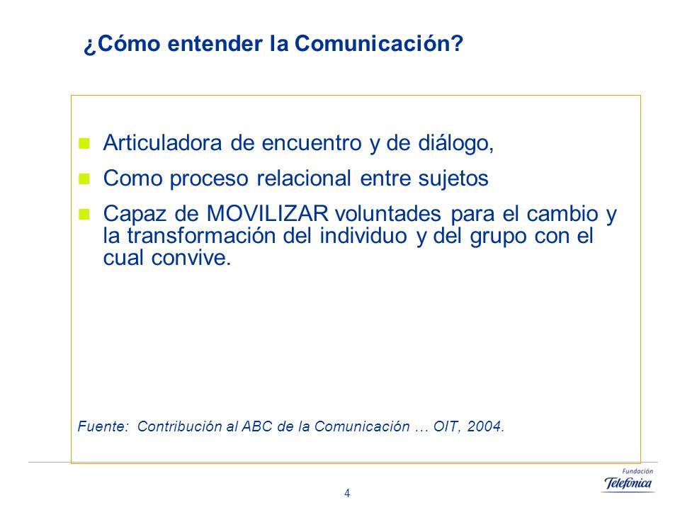 4 ¿Cómo entender la Comunicación? Articuladora de encuentro y de diálogo, Como proceso relacional entre sujetos Capaz de MOVILIZAR voluntades para el