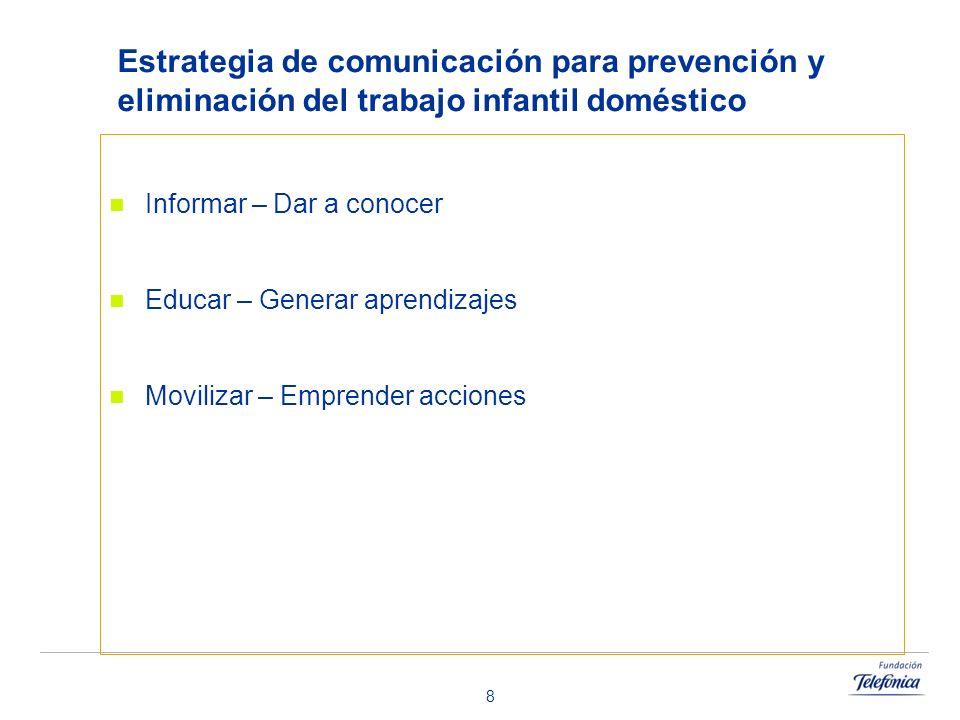 8 Estrategia de comunicación para prevención y eliminación del trabajo infantil doméstico Informar – Dar a conocer Educar – Generar aprendizajes Movil