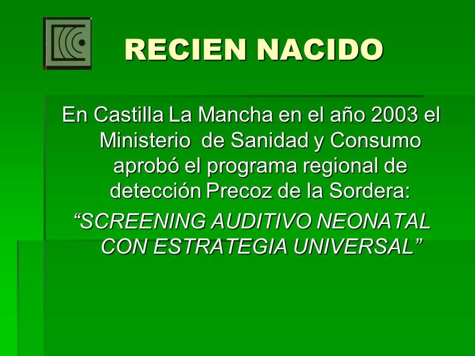 En Castilla La Mancha en el año 2003 el Ministerio de Sanidad y Consumo aprobó el programa regional de detección Precoz de la Sordera: SCREENING AUDIT
