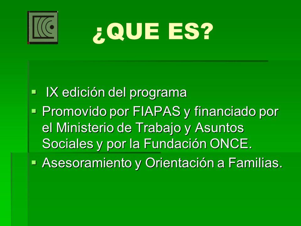 ¿QUE ES? IX edición del programa IX edición del programa Promovido por FIAPAS y financiado por el Ministerio de Trabajo y Asuntos Sociales y por la Fu