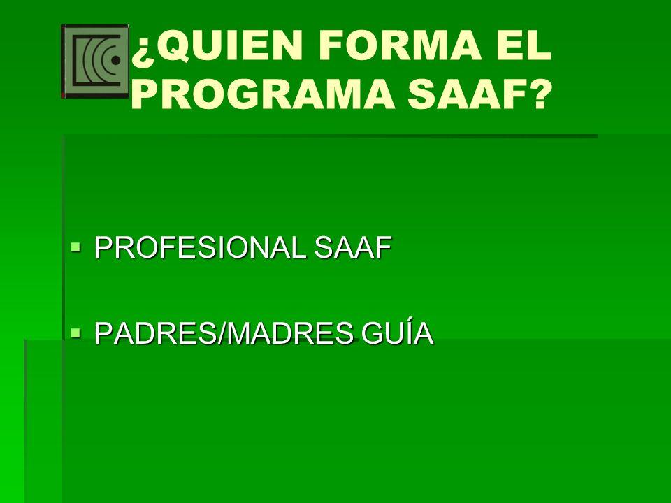 ¿QUIEN FORMA EL PROGRAMA SAAF? PROFESIONAL SAAF PROFESIONAL SAAF PADRES/MADRES GUÍA PADRES/MADRES GUÍA