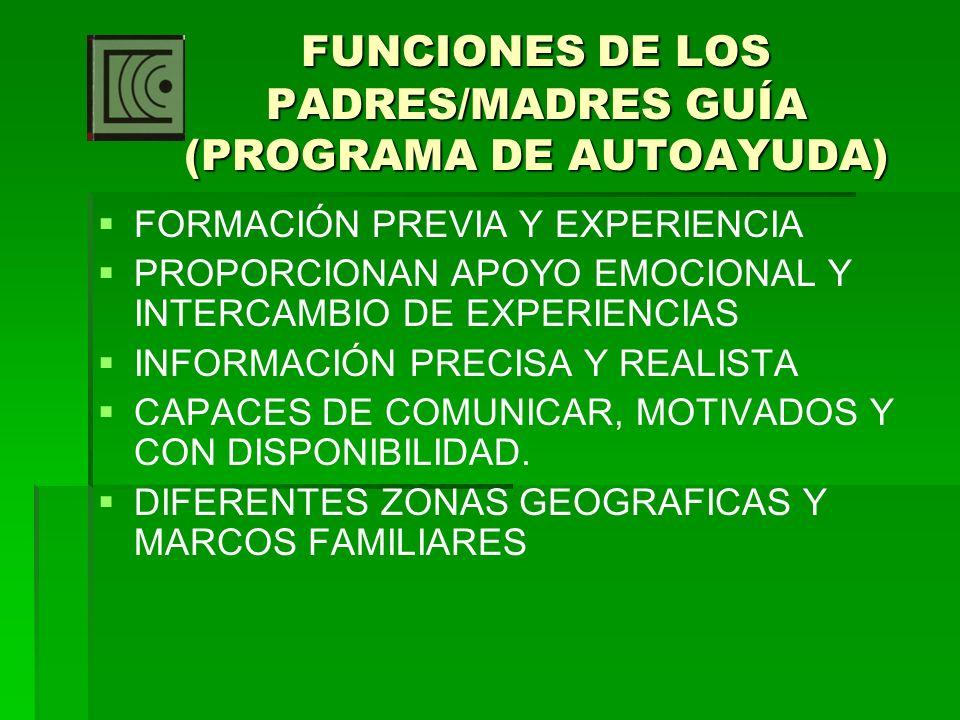 FUNCIONES DE LOS PADRES/MADRES GUÍA (PROGRAMA DE AUTOAYUDA) FORMACIÓN PREVIA Y EXPERIENCIA PROPORCIONAN APOYO EMOCIONAL Y INTERCAMBIO DE EXPERIENCIAS