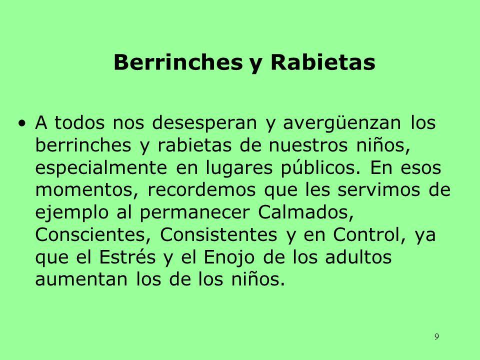 9 Berrinches y Rabietas A todos nos desesperan y avergüenzan los berrinches y rabietas de nuestros niños, especialmente en lugares públicos. En esos m