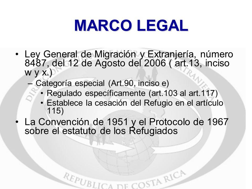 MARCO LEGAL Ley General de Migración y Extranjería, número 8487, del 12 de Agosto del 2006 ( art.13, inciso w y x.) –Categoría especial (Art.90, incis