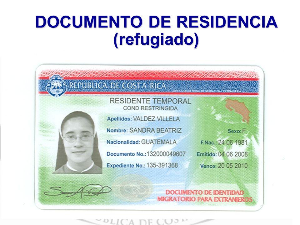 DOCUMENTO DE RESIDENCIA (refugiado)