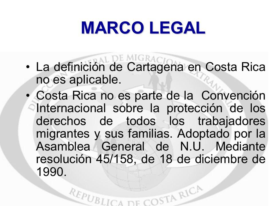 MARCO LEGAL La definición de Cartagena en Costa Rica no es aplicable. Costa Rica no es parte de la Convención Internacional sobre la protección de los