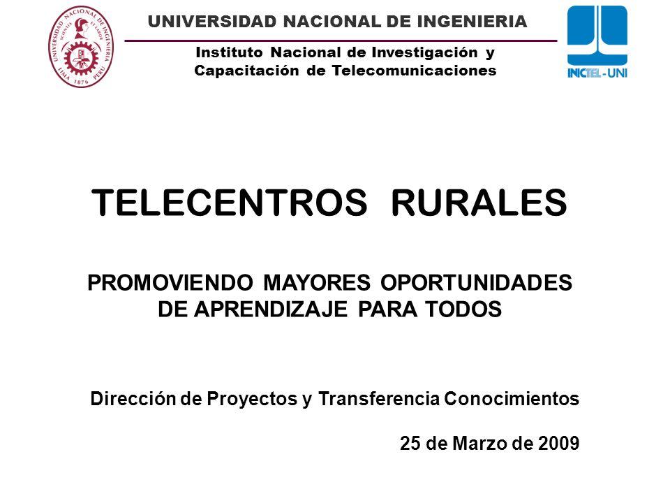 Instituto Nacional de Investigación y Capacitación de Telecomunicaciones UNIVERSIDAD NACIONAL DE INGENIERIA GENERACIÓN DE CONTENIDOS COMO FUENTE DE INFORMACIÓN Y CONOCIMIENTO 3.Proyecto Radial Onda Rur@l : Difundido desde septiembre del 2008, Onda Rural es un proyecto de radio por Internet, dirigido a los pobladores de zonas rurales.