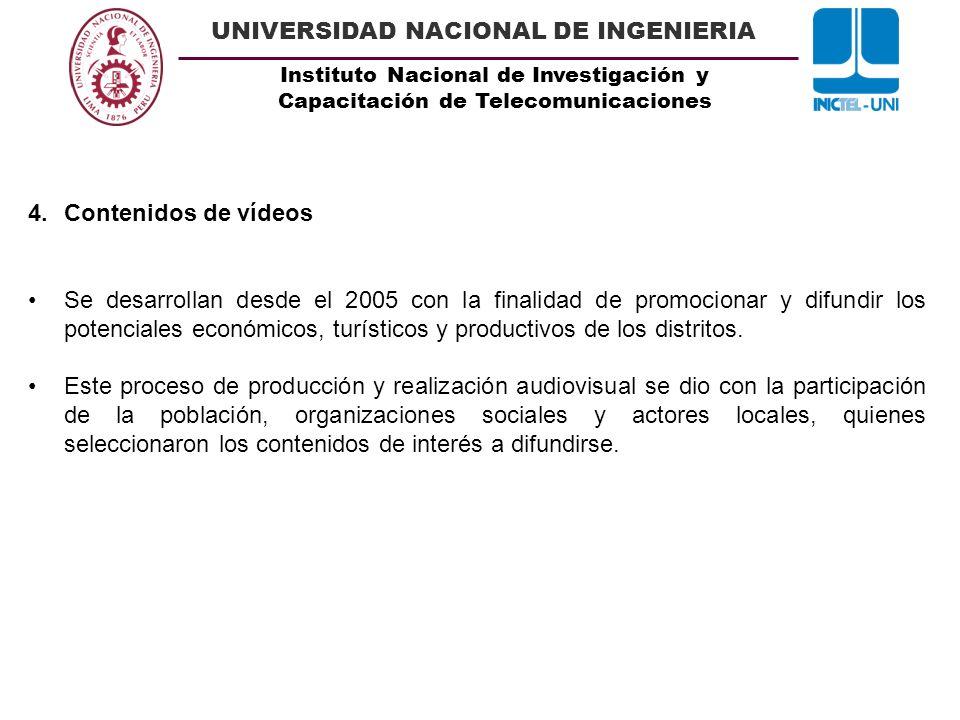 Instituto Nacional de Investigación y Capacitación de Telecomunicaciones UNIVERSIDAD NACIONAL DE INGENIERIA 4.Contenidos de vídeos Se desarrollan desd
