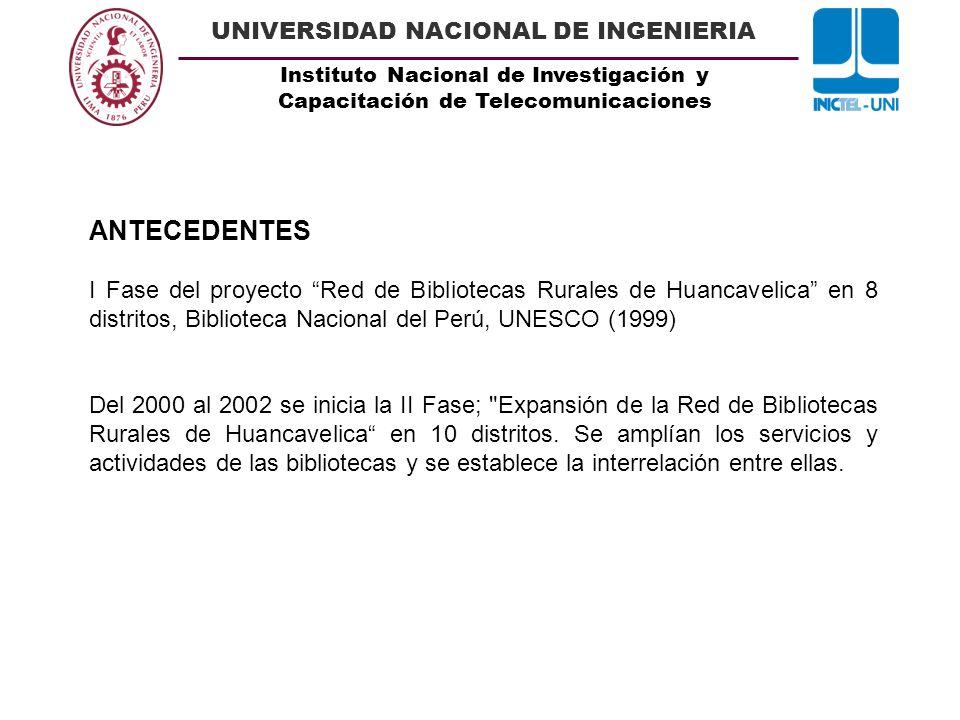 Instituto Nacional de Investigación y Capacitación de Telecomunicaciones UNIVERSIDAD NACIONAL DE INGENIERIA ANTECEDENTES I Fase del proyecto Red de Bi