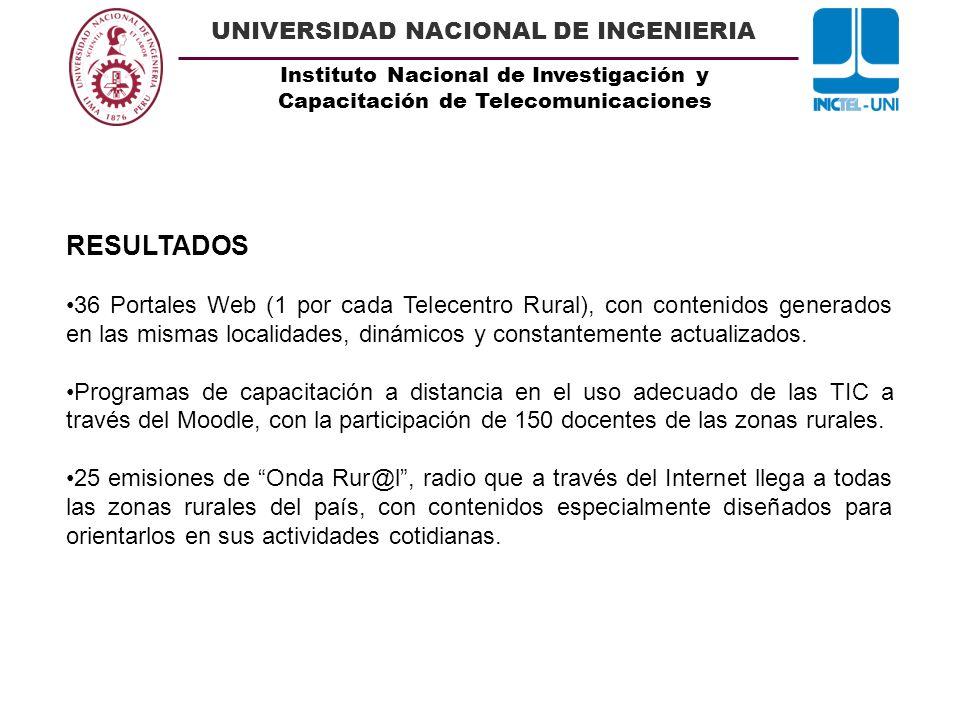 Instituto Nacional de Investigación y Capacitación de Telecomunicaciones UNIVERSIDAD NACIONAL DE INGENIERIA RESULTADOS 36 Portales Web (1 por cada Tel