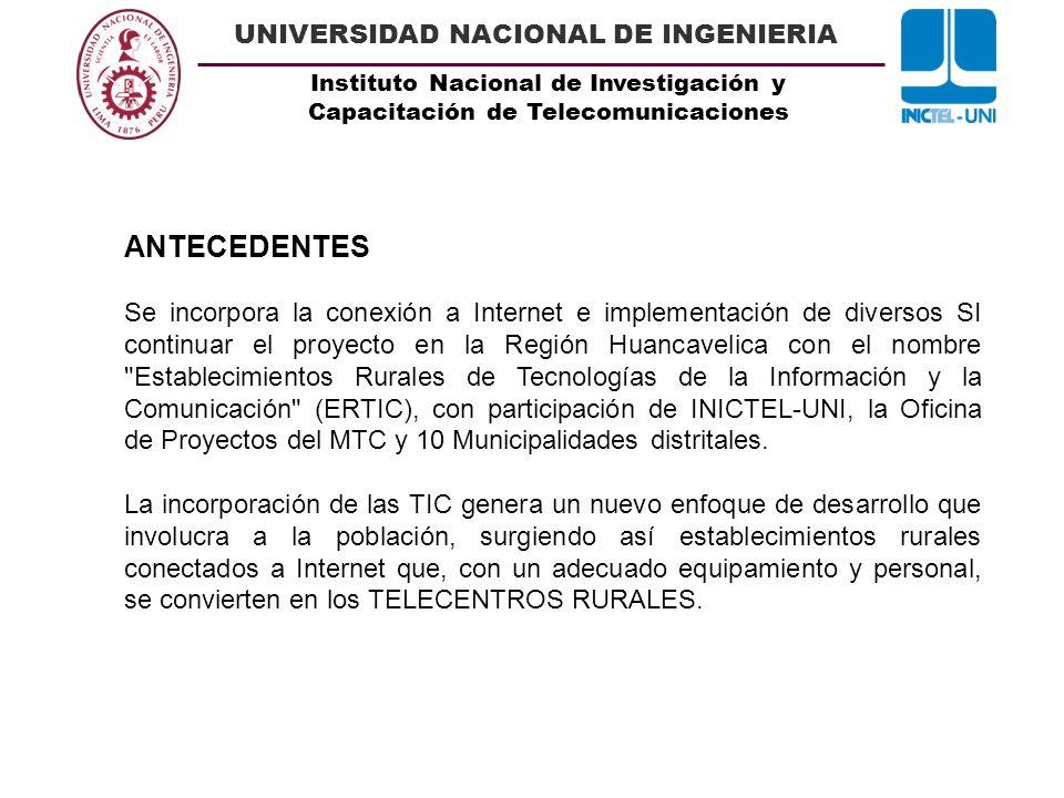 Instituto Nacional de Investigación y Capacitación de Telecomunicaciones UNIVERSIDAD NACIONAL DE INGENIERIA ANTECEDENTES Se incorpora la conexión a In