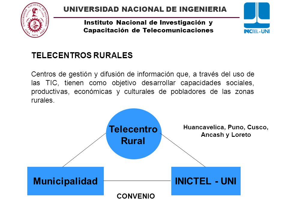 Instituto Nacional de Investigación y Capacitación de Telecomunicaciones UNIVERSIDAD NACIONAL DE INGENIERIA TELECENTROS RURALES Existen 36 Telecentros Rurales implementados por el INICTEL – UNI: Huancavelica, Puno, Cusco, Ancash, Lima y Loreto.