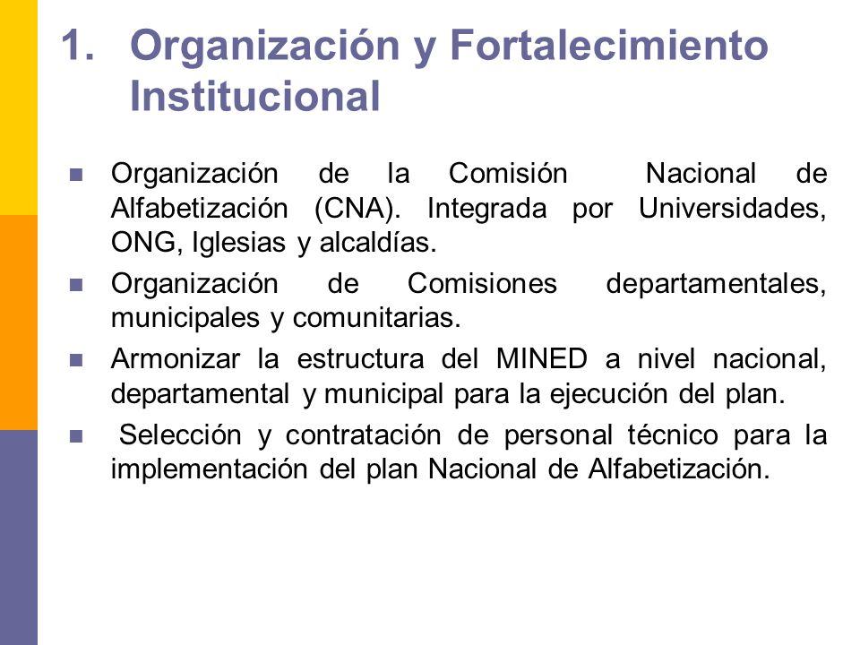 1.Organización y Fortalecimiento Institucional Organización de la Comisión Nacional de Alfabetización (CNA). Integrada por Universidades, ONG, Iglesia