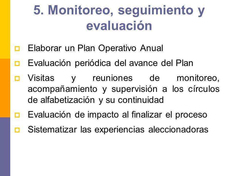 5. Monitoreo, seguimiento y evaluación Elaborar un Plan Operativo Anual Evaluación periódica del avance del Plan Visitas y reuniones de monitoreo, aco