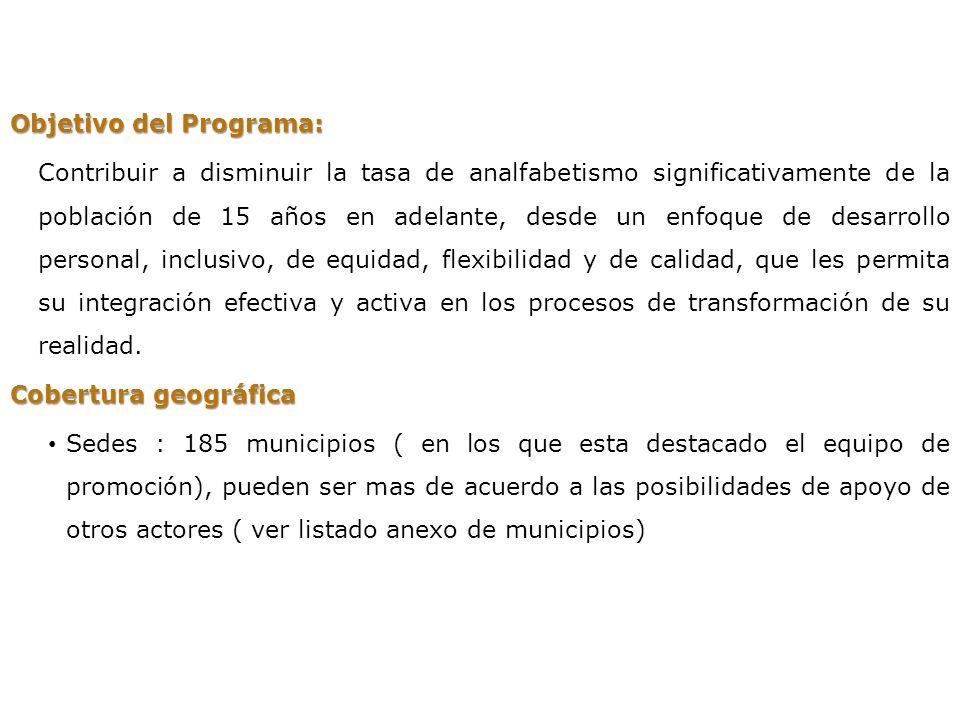 PROGRAMA NACIONAL DE ALFABETIZACION Objetivo del Programa: Contribuir a disminuir la tasa de analfabetismo significativamente de la población de 15 añ