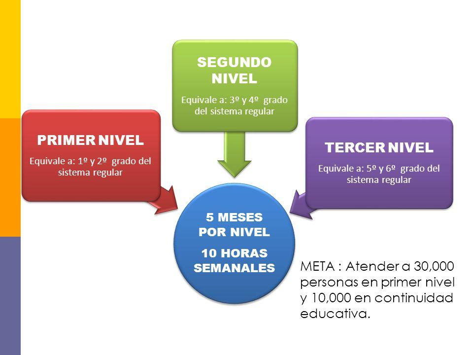 NIVELES EDUCATIVOS DEL PNA 5 MESES POR NIVEL 10 HORAS SEMANALES PRIMER NIVEL Equivale a: 1º y 2º grado del sistema regular SEGUNDO NIVEL Equivale a: 3