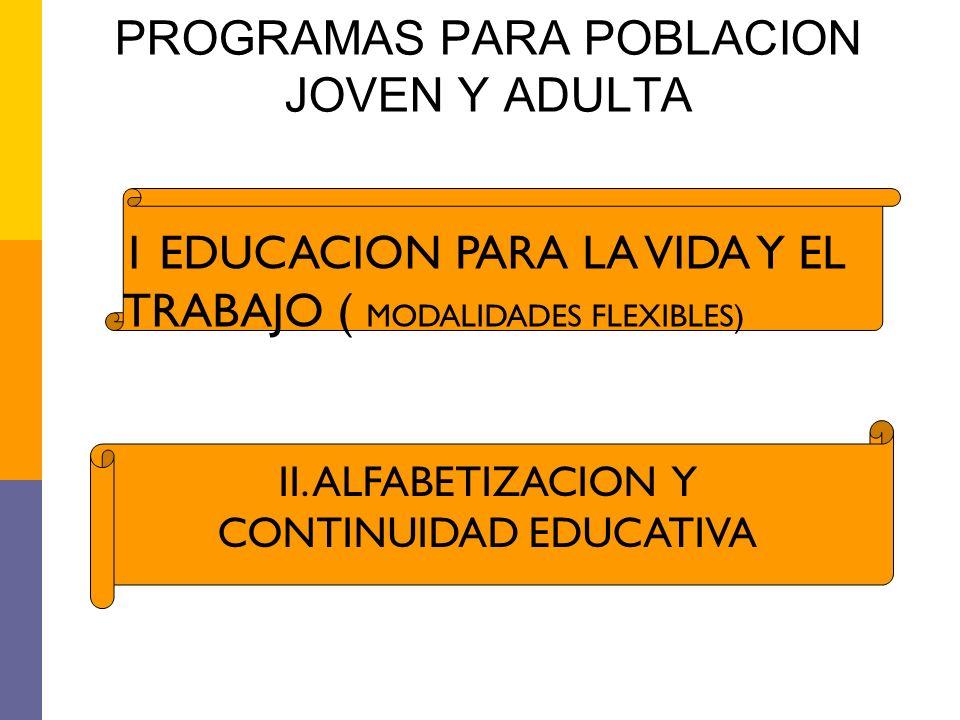 PROGRAMAS PARA POBLACION JOVEN Y ADULTA 1 EDUCACION PARA LA VIDA Y EL TRABAJO ( MODALIDADES FLEXIBLES) II. ALFABETIZACION Y CONTINUIDAD EDUCATIVA