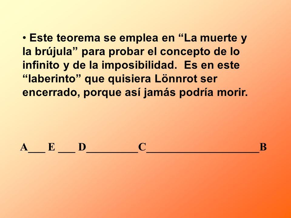 Este teorema se emplea en La muerte y la brújula para probar el concepto de lo infinito y de la imposibilidad. Es en este laberinto que quisiera Lönnr