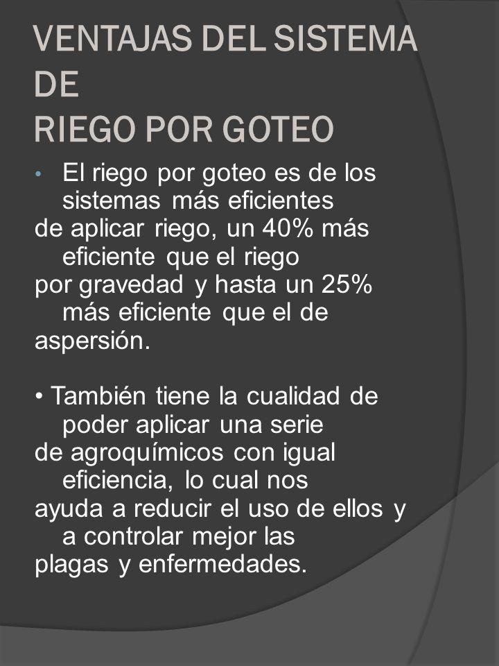 VENTAJAS DEL SISTEMA DE RIEGO POR GOTEO El riego por goteo es de los sistemas más eficientes de aplicar riego, un 40% más eficiente que el riego por g
