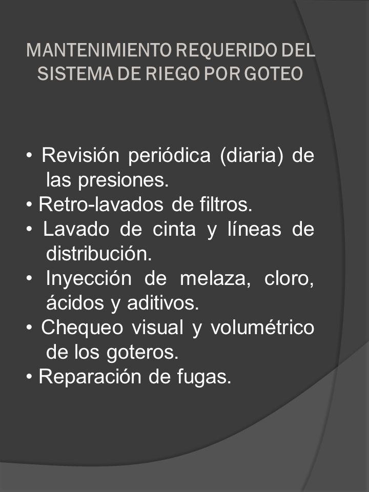 MANTENIMIENTO REQUERIDO DEL SISTEMA DE RIEGO POR GOTEO Revisión periódica (diaria) de las presiones. Retro-lavados de filtros. Lavado de cinta y línea