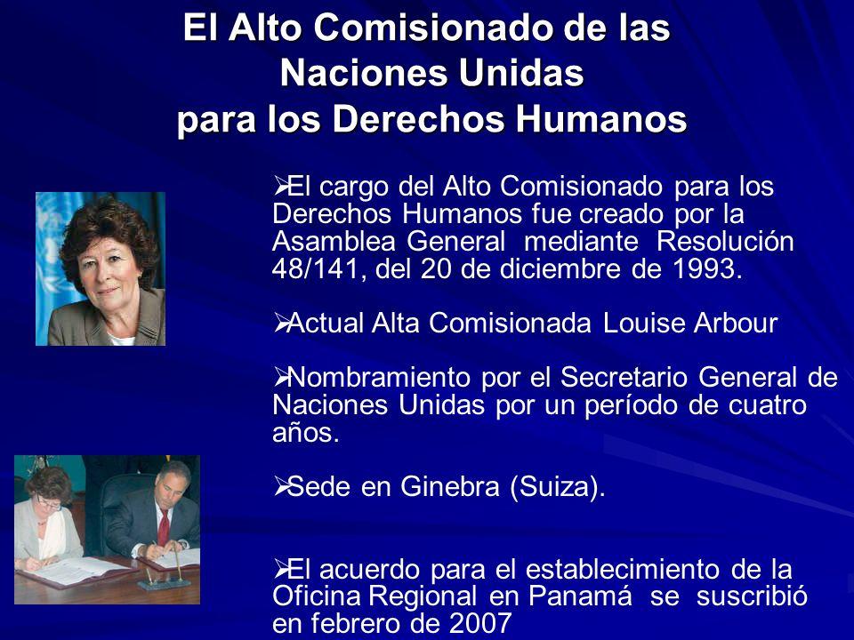 El Alto Comisionado de las Naciones Unidas para los Derechos Humanos El cargo del Alto Comisionado para los Derechos Humanos fue creado por la Asamble