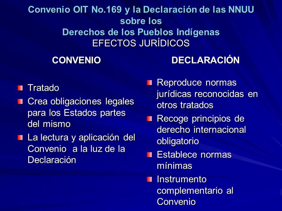 Convenio OIT No.169 y la Declaración de las NNUU sobre los Derechos de los Pueblos Indígenas EFECTOS JURÍDICOS CONVENIO Tratado Crea obligaciones lega
