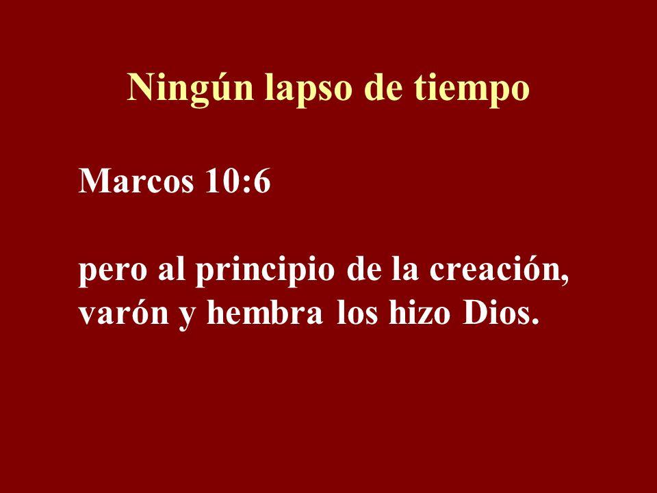 Ningún lapso de tiempo Marcos 10:6 pero al principio de la creación, varón y hembra los hizo Dios.