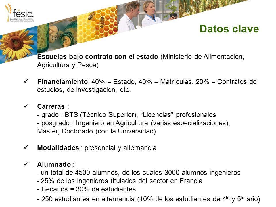 Datos clave Escuelas bajo contrato con el estado (Ministerio de Alimentación, Agricultura y Pesca) Financiamiento: 40% = Estado, 40% = Matrículas, 20% = Contratos de estudios, de investigación, etc.