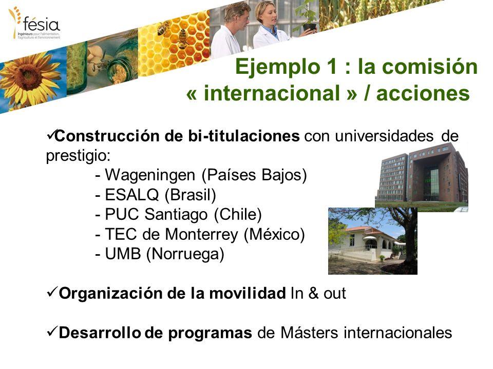 Ejemplo 1 : la comisión « internacional » / acciones Construcción de bi-titulaciones con universidades de prestigio: - Wageningen (Países Bajos) - ESALQ (Brasil) - PUC Santiago (Chile) - TEC de Monterrey (México) - UMB (Norruega) Organización de la movilidad In & out Desarrollo de programas de Másters internacionales