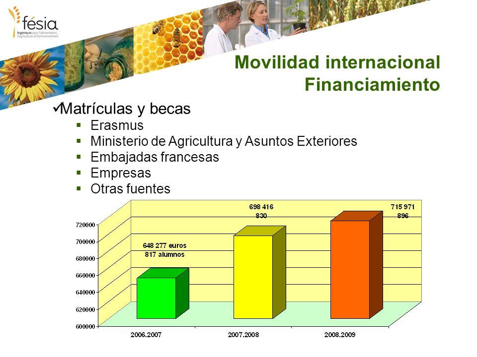 Movilidad internacional Financiamiento Matrículas y becas Erasmus Ministerio de Agricultura y Asuntos Exteriores Embajadas francesas Empresas Otras fu