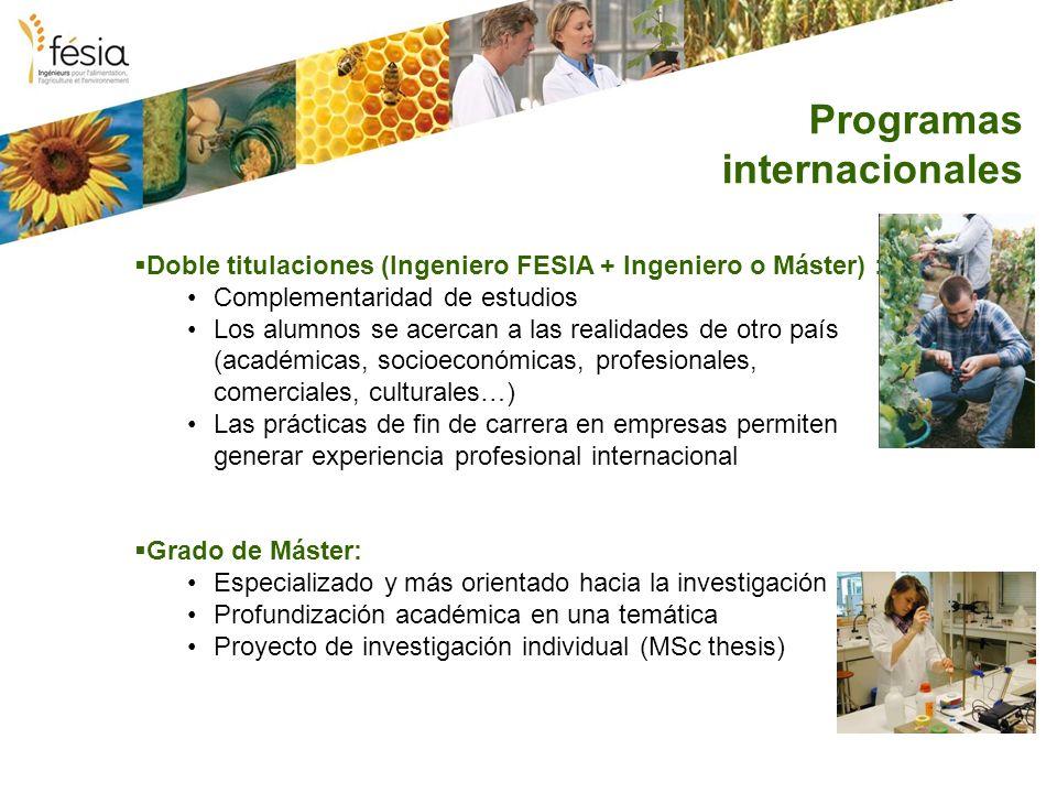 Programas internacionales Doble titulaciones (Ingeniero FESIA + Ingeniero o Máster) : Complementaridad de estudios Los alumnos se acercan a las realid