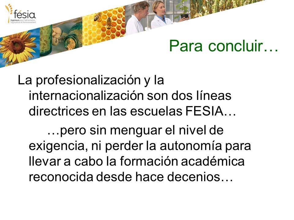 Para concluir… La profesionalización y la internacionalización son dos líneas directrices en las escuelas FESIA… …pero sin menguar el nivel de exigencia, ni perder la autonomía para llevar a cabo la formación académica reconocida desde hace decenios…