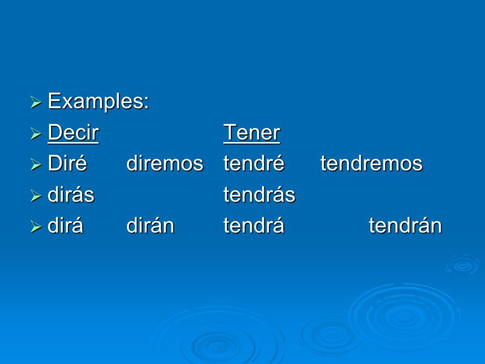 Examples: Examples: DecirTener DecirTener Dirédiremostendrétendremos Dirédiremostendrétendremos dirástendrás dirástendrás dirá dirántendrátendrán dirá dirántendrátendrán